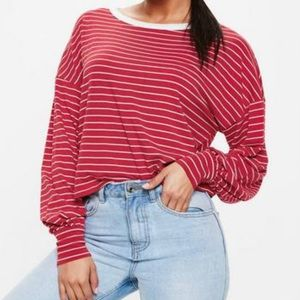 Red Striped Long Sleeve Tee